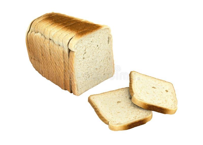 Pane affettato isolato su fondo bianco senza ombra 3d illustrazione di stock