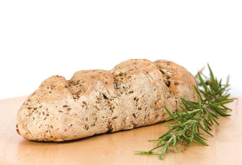 Pane casalingo del grano intero con rosmarino fotografia stock libera da diritti