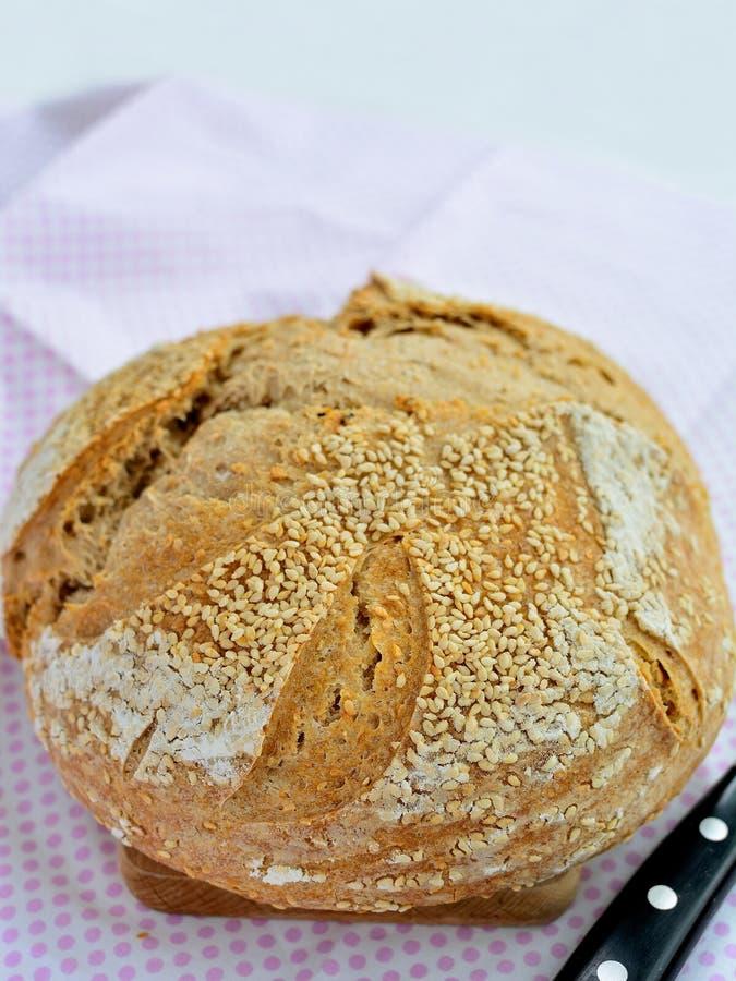 Pane casalingo del lievito naturale con i semi di sesamo immagini stock libere da diritti