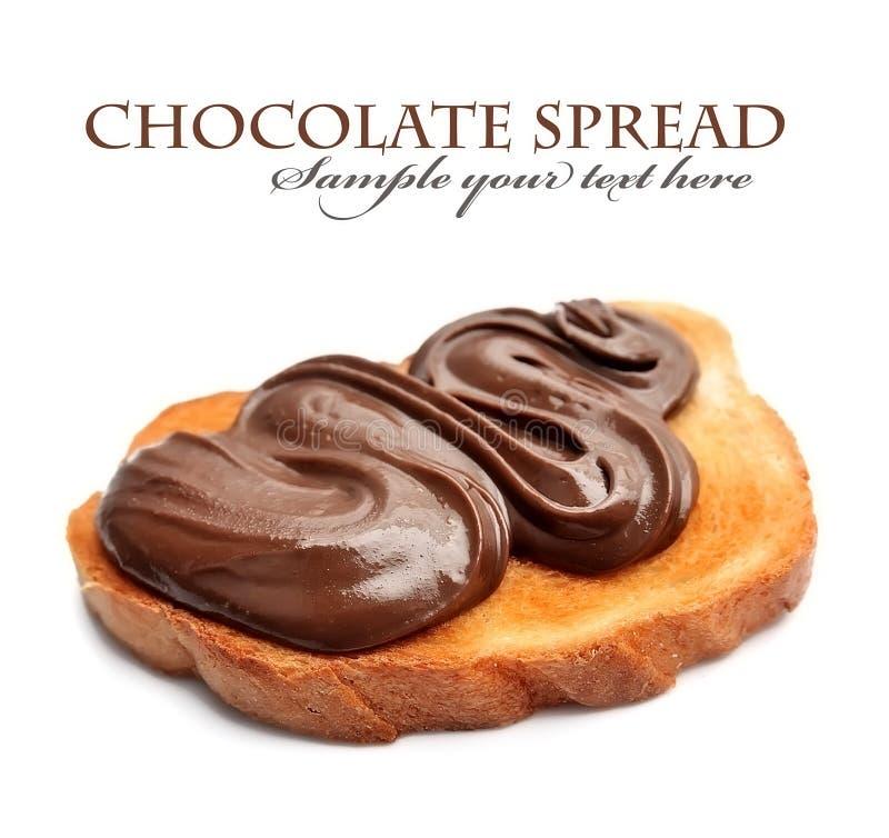 Pane con la diffusione del cioccolato fotografia stock
