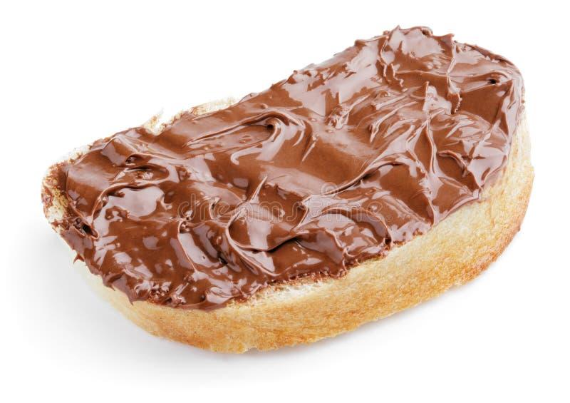 Pane con la diffusione del cioccolato immagine stock