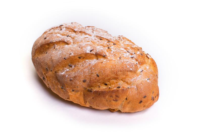 Pane croccante fresco con i semi di sesamo Isolato fotografie stock