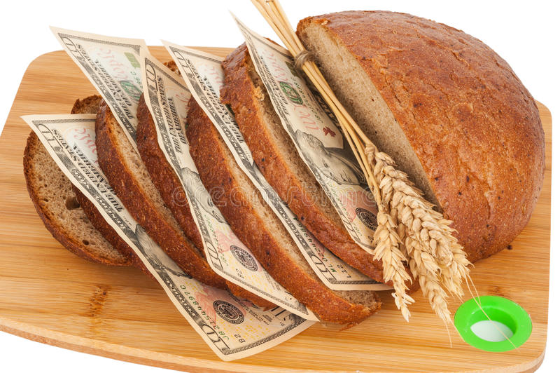 Pane della fetta con soldi immagini stock