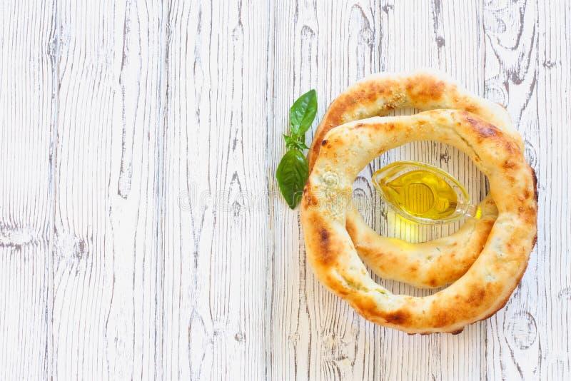 Pane della pita farcito con formaggio fotografia stock
