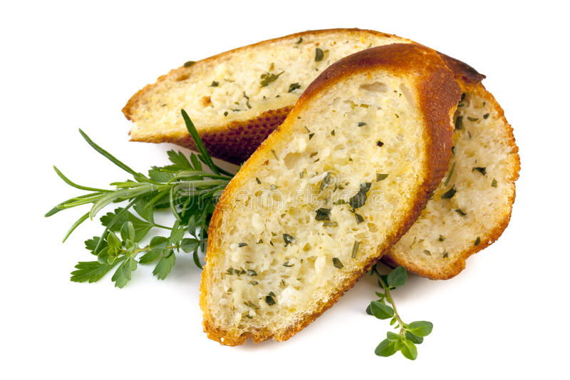 Pane di aglio con le erbe   immagini stock libere da diritti