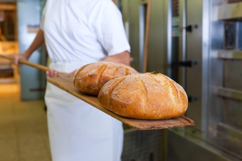 Pane di cottura del panettiere che mostra il prodotto fotografia stock libera da diritti