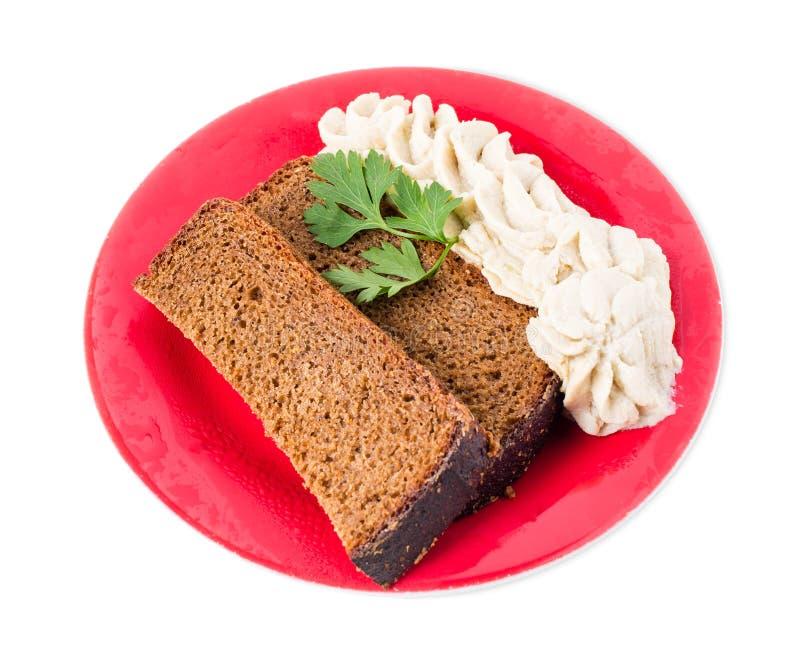 Pane di segale con il grasso tritato della carne di maiale fotografia stock libera da diritti