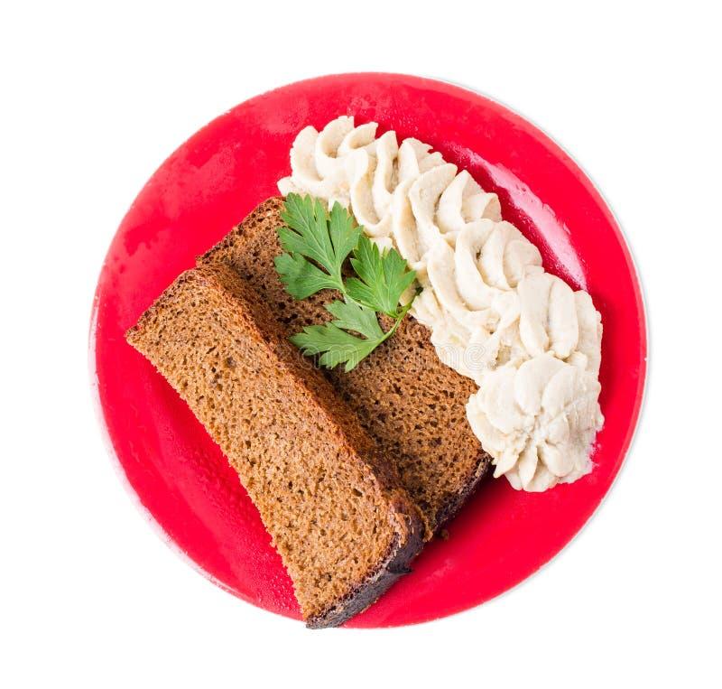 Pane di segale con il grasso tritato della carne di maiale immagine stock libera da diritti