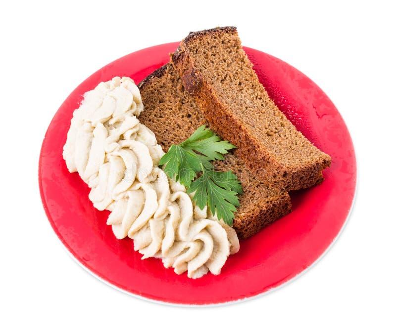 Pane di segale con il grasso tritato della carne di maiale immagine stock