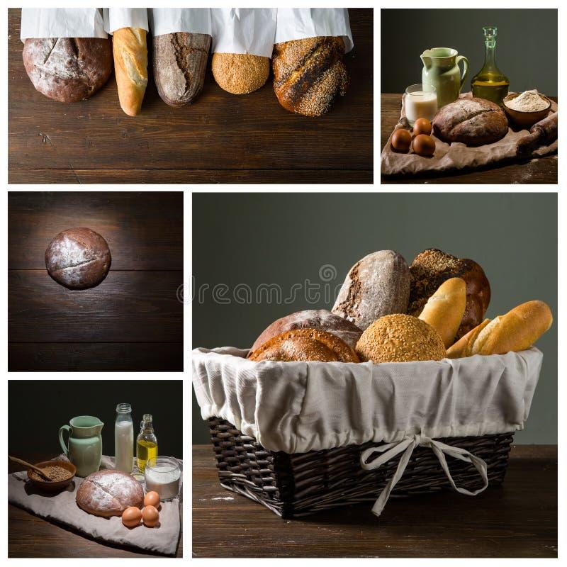 Pane e farina con latte e le uova fotografia stock