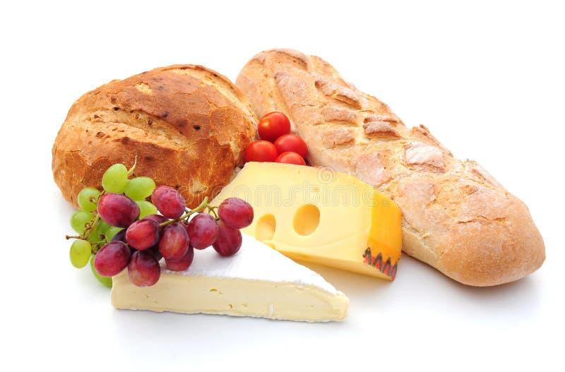 Pane e frutta del formaggio fotografia stock