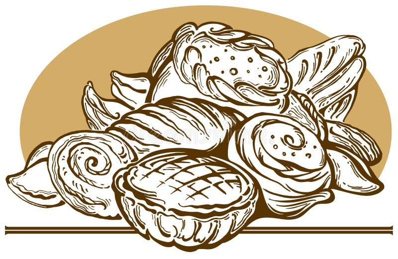 Pane e grafici a torta. illustrazione vettoriale