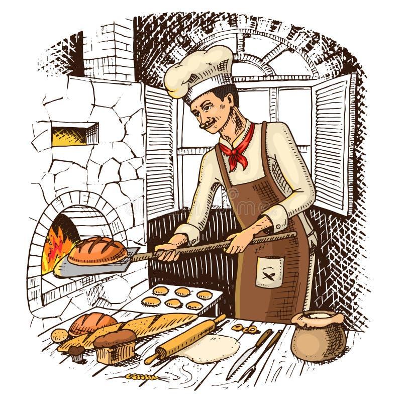 Pane e panino o croissant dolce capo o cuoco unico culinario royalty illustrazione gratis