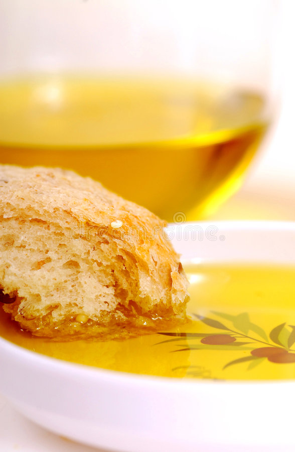 Pane ed olio di oliva fotografie stock