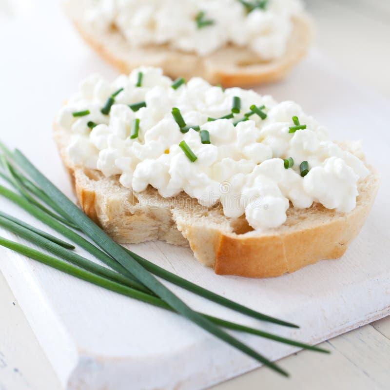 Pane fresco con cagliata fotografia stock