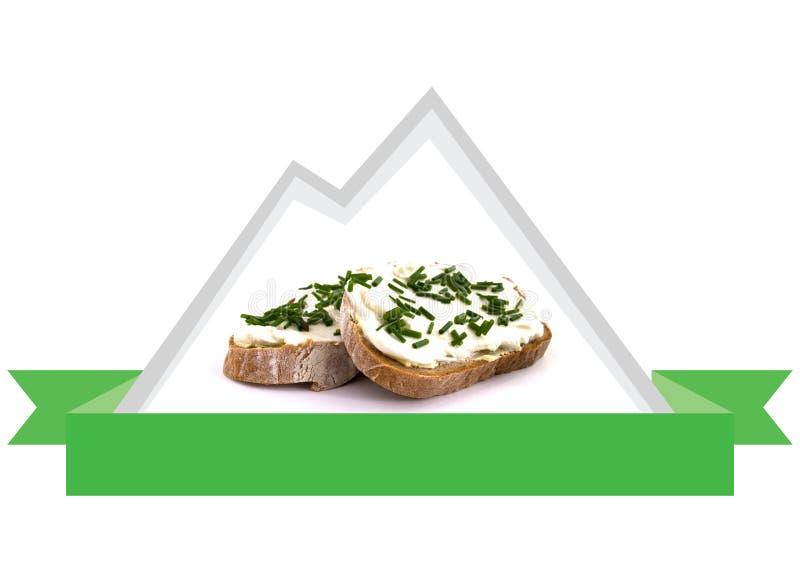 Pane fresco e naturale con la cagliata dalle montagne, logo dell'erba fotografia stock libera da diritti
