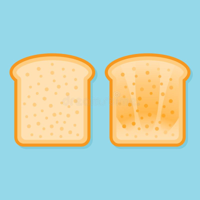 Pane fresco e tostato Illustrazione piana di vettore di stile illustrazione vettoriale