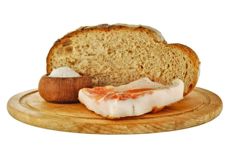 Pane, grasso e sale del grano intero immagini stock libere da diritti