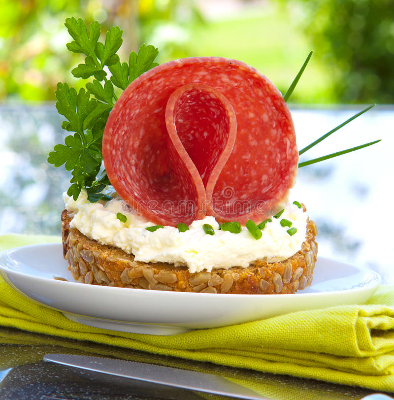 Pane integrale con formaggio e la salsiccia. fotografia stock libera da diritti