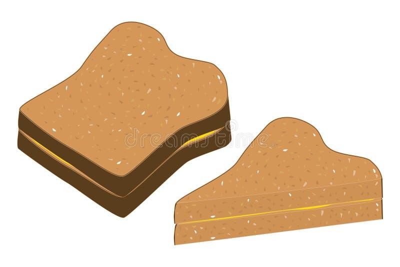 Pane integrale e burro royalty illustrazione gratis