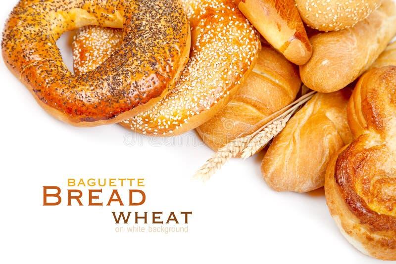 Pane, pagnotta, baguette, bagel, grano fotografia stock libera da diritti