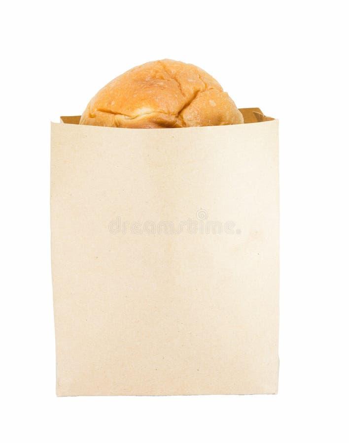 Pane in sacchi di carta marroni, prima colazione immagine stock libera da diritti