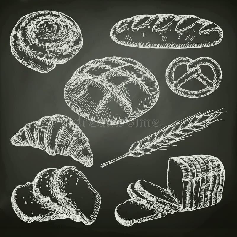 Pane, schizzi sulla lavagna illustrazione di stock