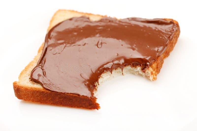 Pane tostato con cioccolato fotografia stock
