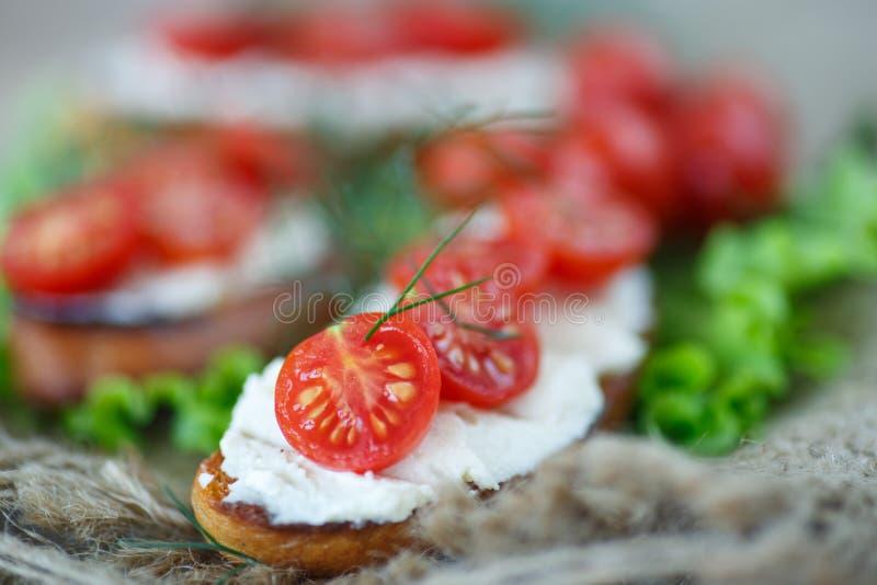 Pane tostato con formaggio ed i pomodori ciliegia immagine stock