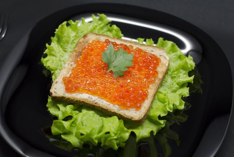 Pane tostato con il caviale rosso e l'insalata verde immagine stock