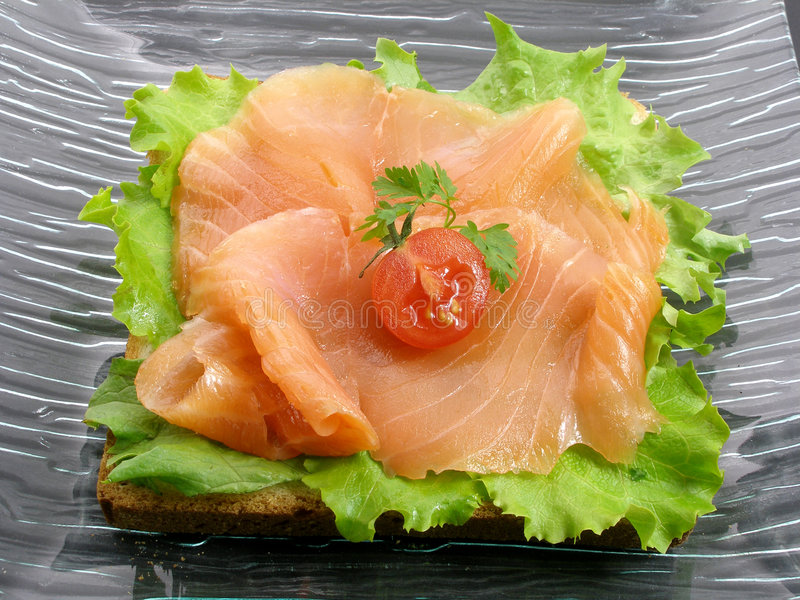 Pane tostato dei salmoni affumicati immagine stock
