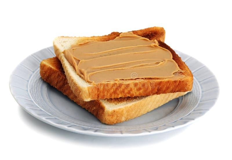 Pane tostato del burro di arachide fotografia stock libera da diritti