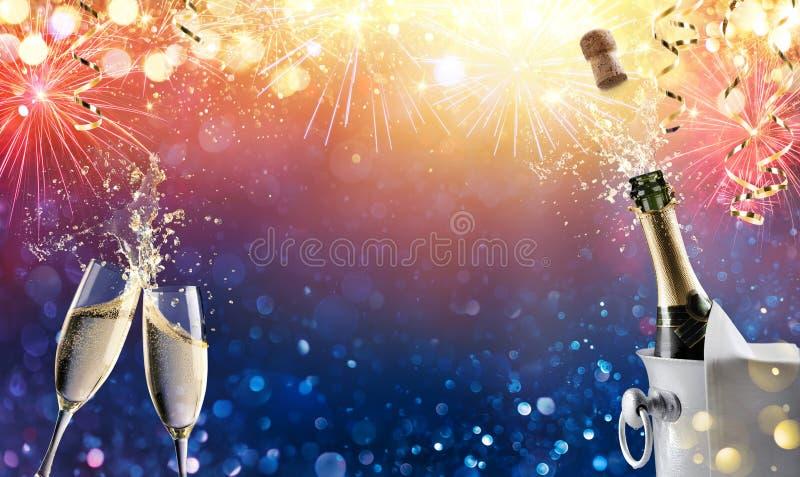 Pane tostato di celebrazione con i fuochi d'artificio e Champagne illustrazione di stock