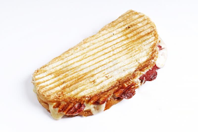 Pane tostato fresco del formaggio della salsiccia fotografia stock