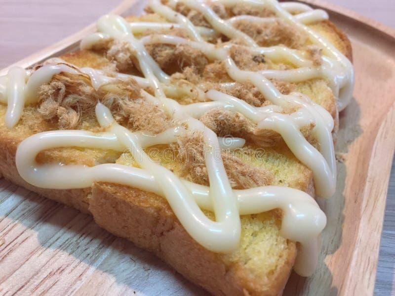 Pane tostato tagliuzzato della carne di maiale fotografie stock libere da diritti