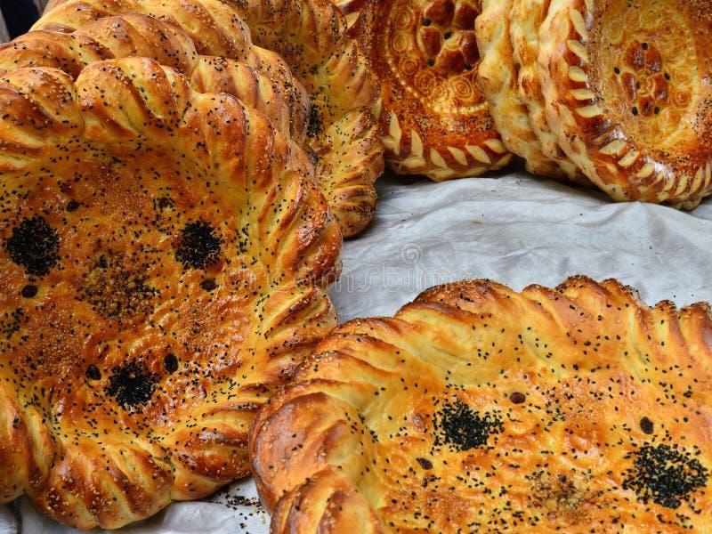 Pane tradizionale del pasto dell'Uzbeco immagini stock
