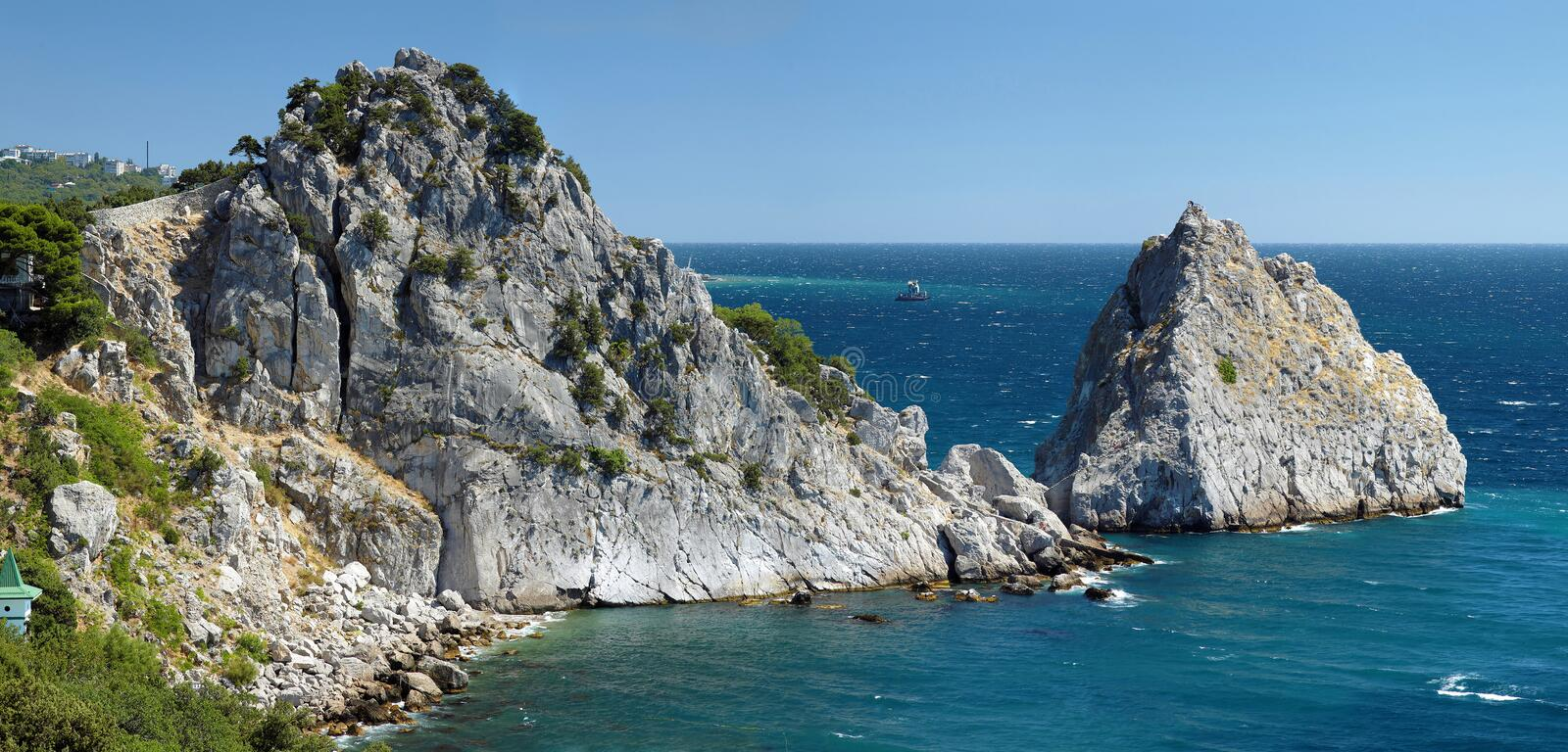 Download Panea And Diva Rocks In The Town Simeiz In Crimea Stock Image - Image: 21971393