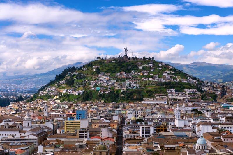 Panecillo kulle i Quito, Ecuador arkivfoto