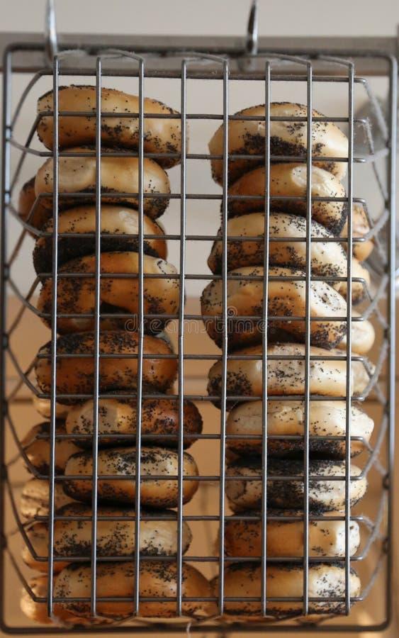 Panecillos de las semillas de amapola del estilo de Nueva York fotos de archivo libres de regalías