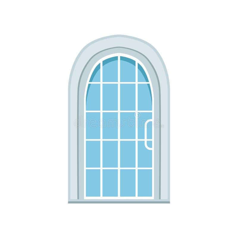paned的玻璃成拱形前门,闭合的典雅的白色门传染媒介例证 皇族释放例证
