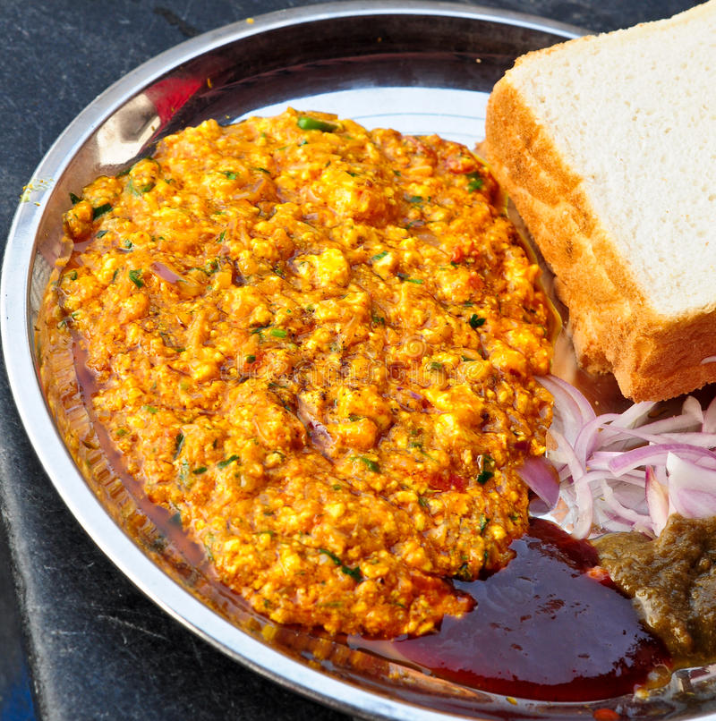 Paneer Bhurji. Made from Paneer(Indian cheese) , served with Bread and Chutney stock photos