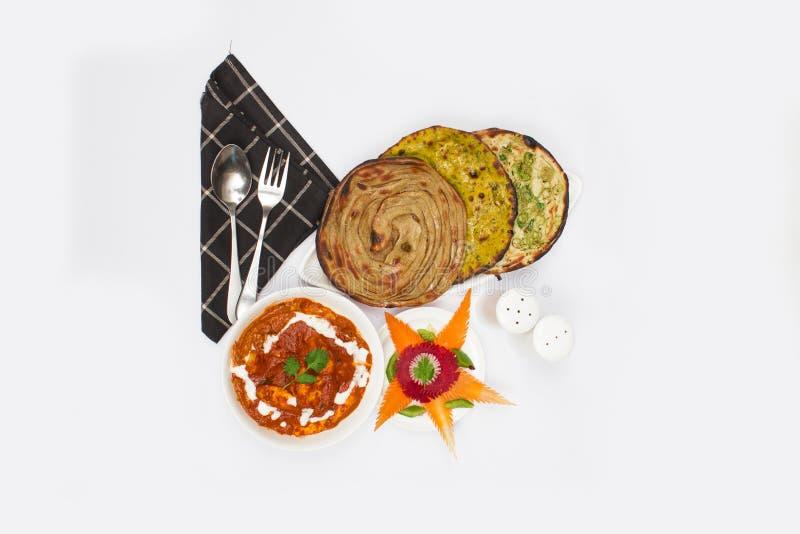 Paneer smör Masala med Pratha arkivbilder