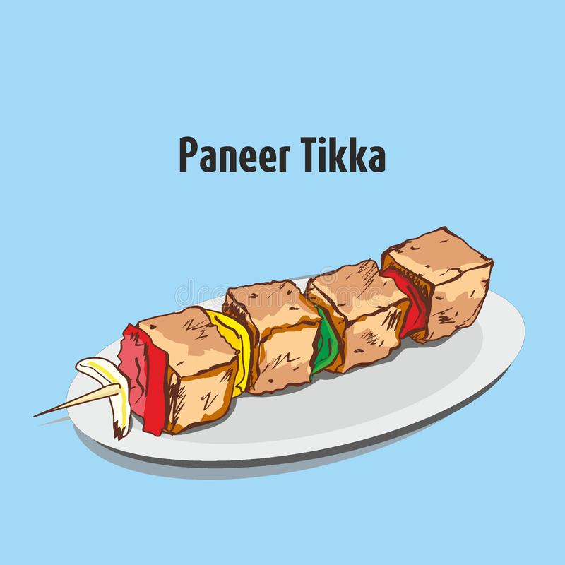 Paneer tikka lub tandoori paneer royalty ilustracja