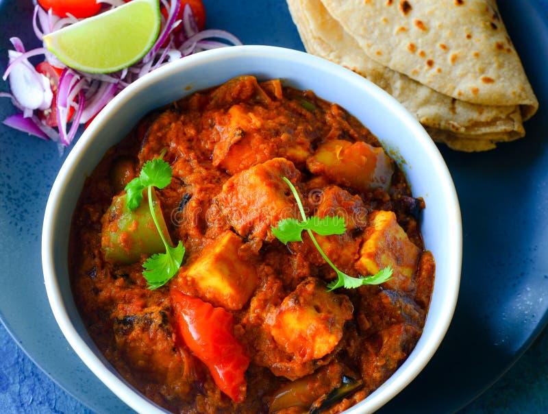 Paneer tikka masala meal. Indian meal- punjabi paneer tikka masala with roti and salad stock image