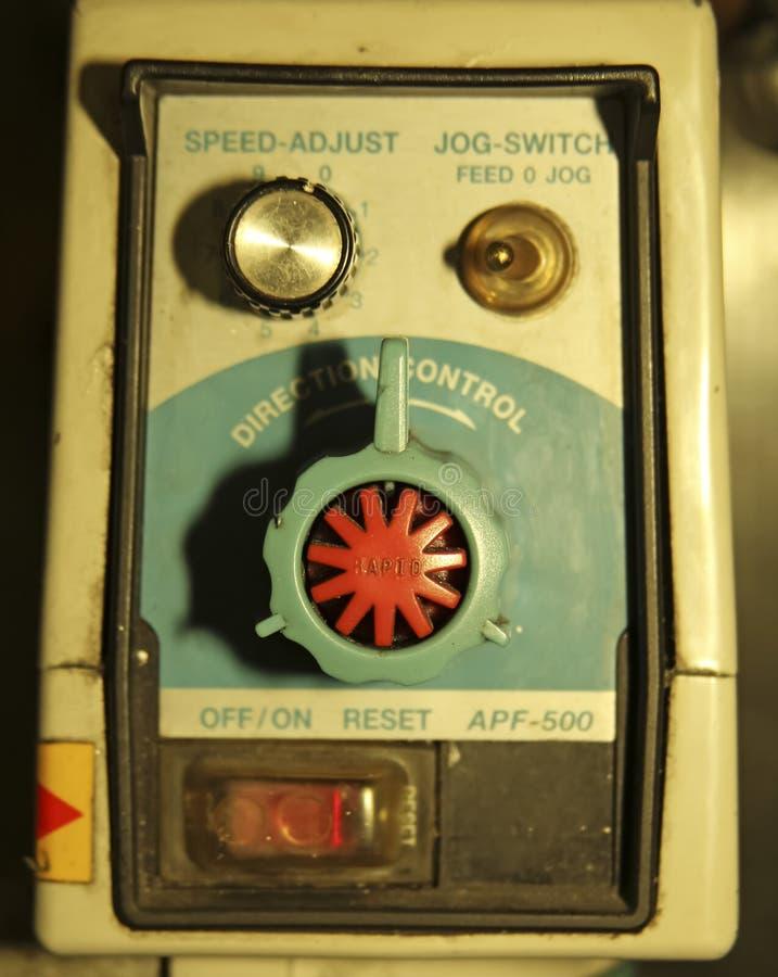 Panel de control con el interruptor y los botones imágenes de archivo libres de regalías