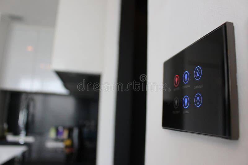 Panel de control de la pantalla táctil para la iluminación del sitio fotografía de archivo