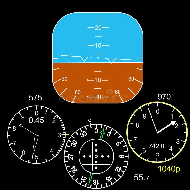 Panel de control en una carlinga plana ilustración del vector