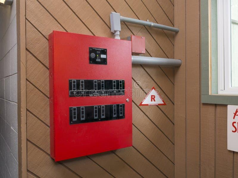 Panel de control la alarma de incendio imagen de archivo libre de regalías