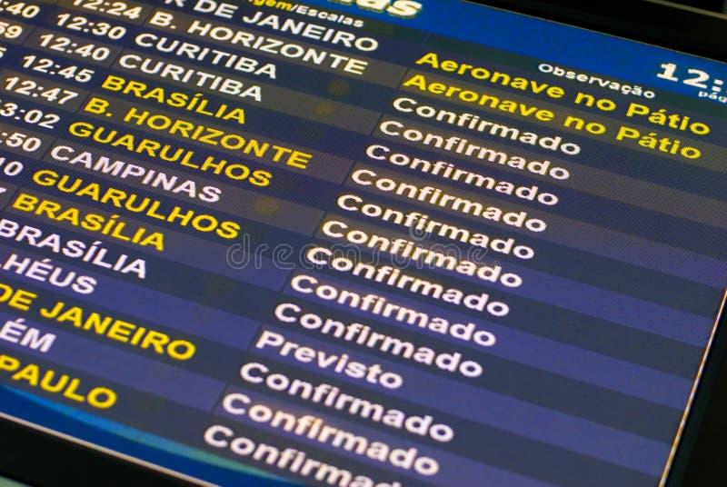 Panel de l'information de vol photographie stock libre de droits