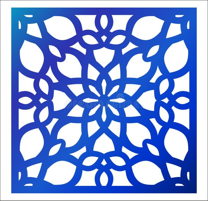 Panel för laser-klippfyrkant Blom- modell för lövsågsarbete med mandalaen stock illustrationer